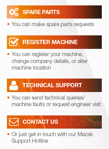 features - spare parts, register machine, technical support