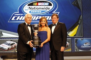 Roger Penske recently accepted the 2013 NASCAR Nationwide Series Owners' Championship trophy capture by the No. 22 Penske Racing Ford team.