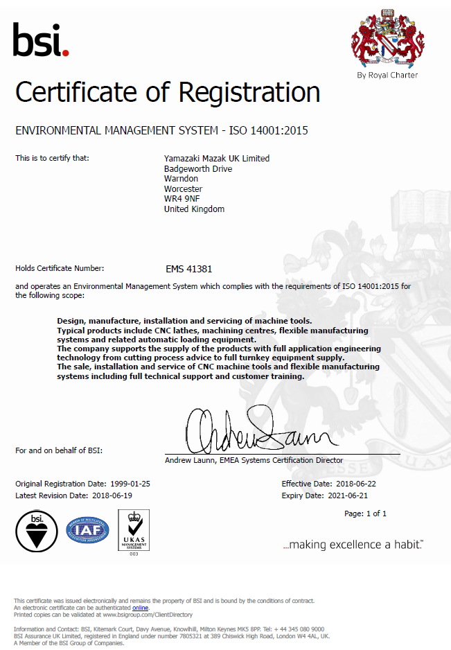 BSI certificate of registration